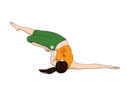 Half Frog Side Shoulderstand Yoga Pose