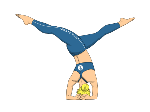 Revolved Split Legged Headstand Yoga Pose