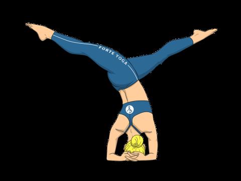 Revolved Split Legged Headstand Yoga Pose