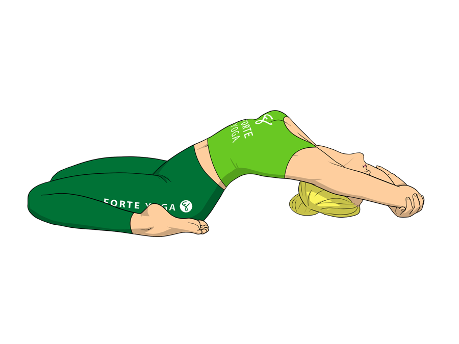 Upward couch yoga pose is a reclined backbend pose that targets the